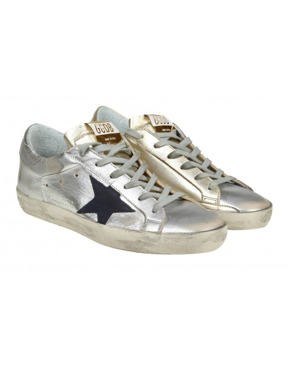 GOLDEN GOOSE SNEAKERS SUPERSTAR IN PELLE PLATINO/ARGENTO
