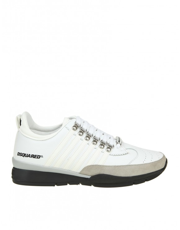 DSQUARED2 SNEAKERS LACED UP IN PELLE BIANCA