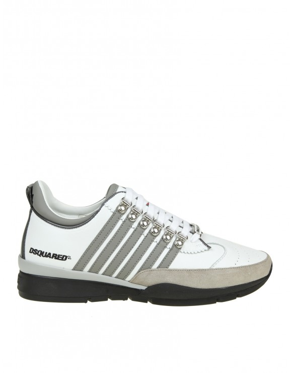 DSQUARED LACED UP 251 SNEAKERS IN WHITE LEATHER ...