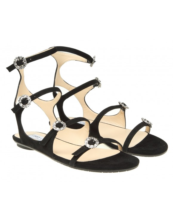 """JIMMY CHOO """"NAIA FLATS"""" SANDALS IN BLACK SUEDE"""