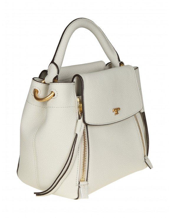 "TORY BURCH TRACOLLA ""HALF-MOON"" IN PELLE BIANCA"