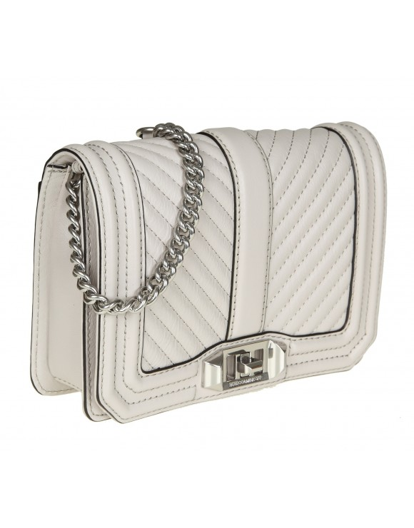 "REBECCA MINKOFF ""CHEVRON QUILTED LOVE CROSSBODY"" IN PELLE GHIACCIO"