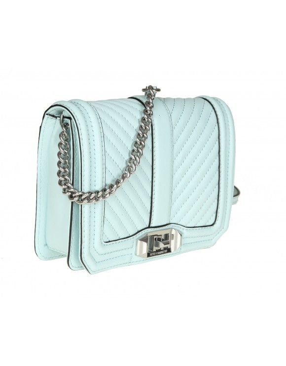 "REBECCA MINKOFF ""CHEVRON QUILTED LOVE CROSSBODY"" IN PELLE ACQUAMARINA"