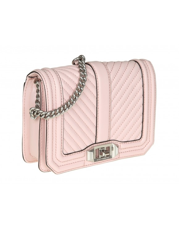 "REBECCA MINKOFF ""CHEVRON QUILTED LOVE CROSSBODY"" IN PELLE ROSA"