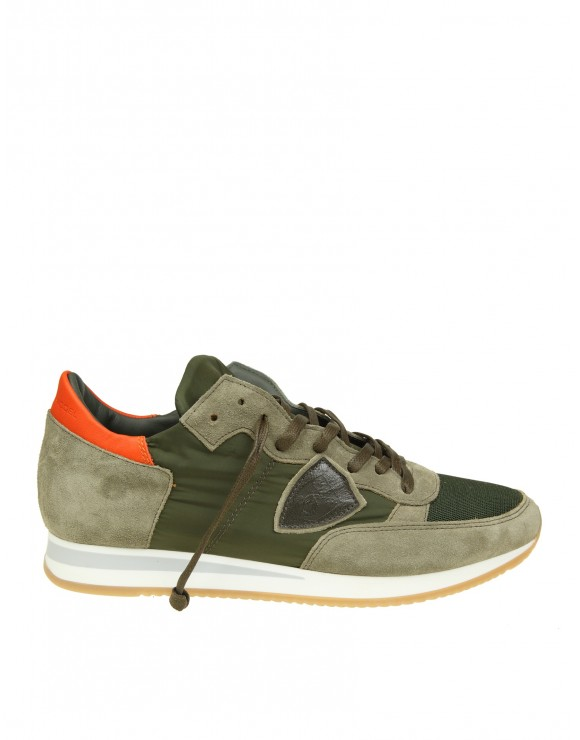 PHILIPPE MODEL SNEAKERS TROPEZ IN CAMOSCIO VERDE MILITARE