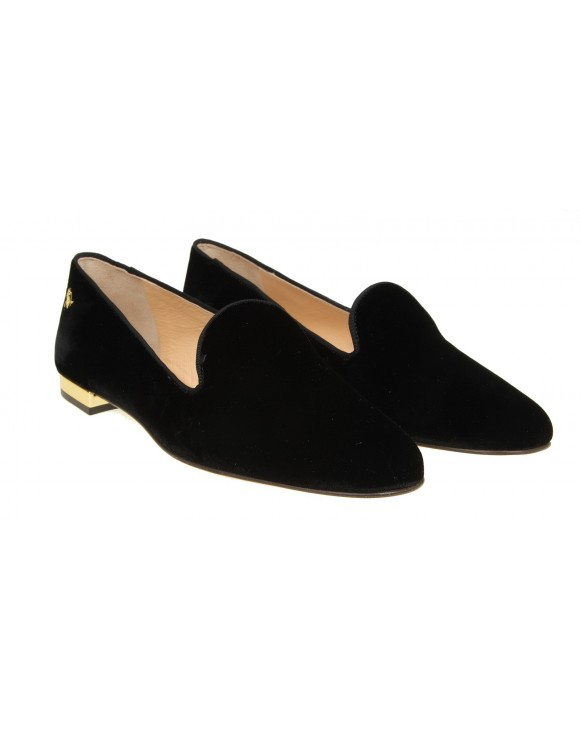 "CHARLOTTE OLYMPIA ""NOCTURNAL FLATS"" IN VELLUTO NERO"