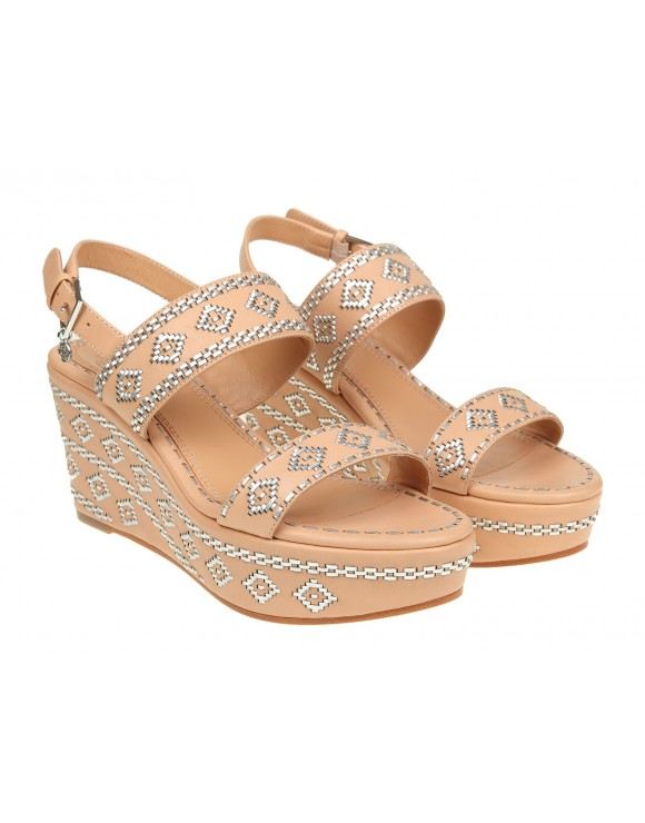 "TORY BURCH SANDALO ""BLAKE ANKLE-STRAP WEDGE SANDAL"" IN PELLE"