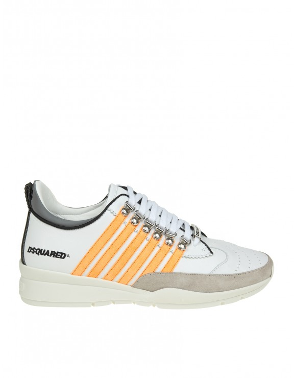 DSQUARED2 SNEAKERS LACED UP 251 IN PELLE BIANCA