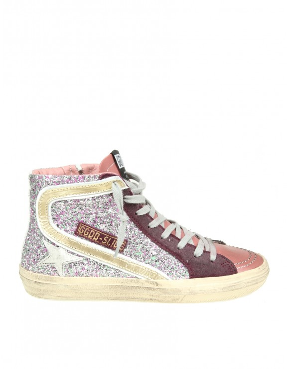 "GOLDEN GOOSE SNEAKERS ""SLIDE"" IN PELLE CON GLITTER"