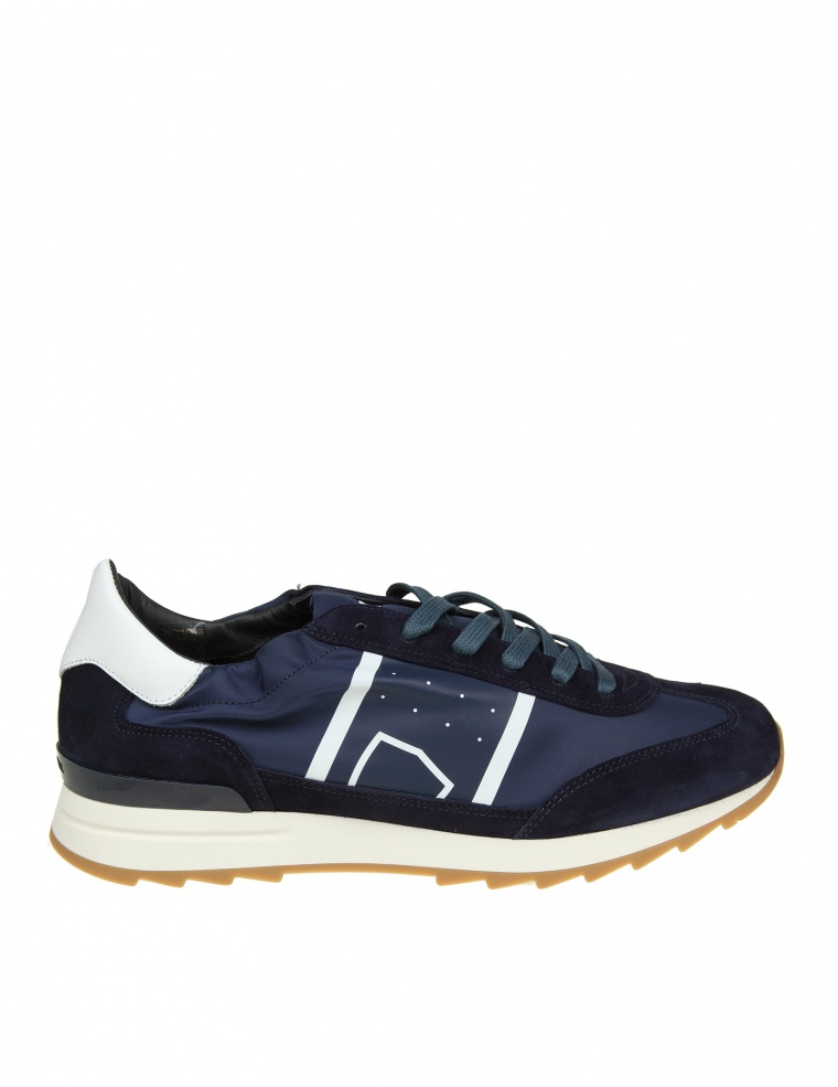 Sneakers TOUJOURS suede nylon blue leather white Philippe Model M4aoCj