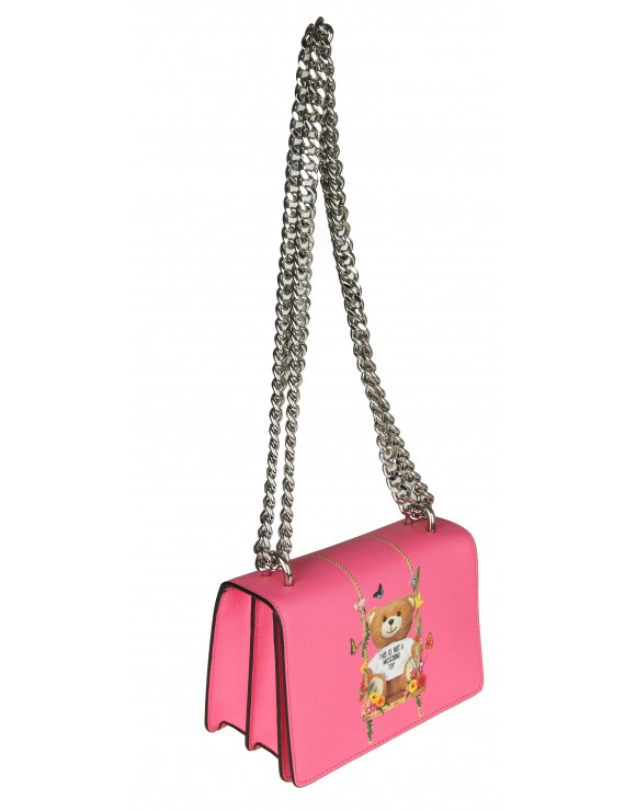 MOSCHINO TRACOLLA IN SIMILPELLE ROSA CON STAMPA