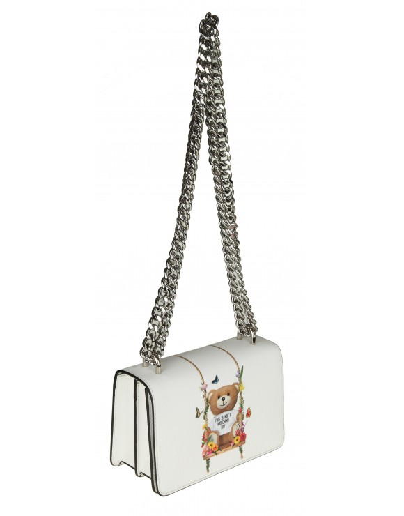 MOSCHINO TRACOLLA IN SIMILPELLE BIANCA CON STAMPA
