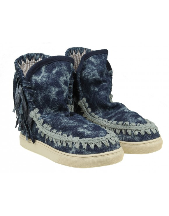 MOU SUMMER ESKIMO SNEAKERS FRINGED IN BLUE JEANS