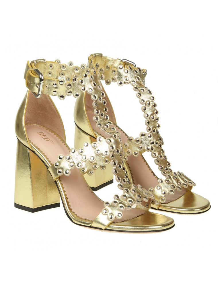 Popular And Cheap RED Valentino Flowers Puzzle Sandal In Golden Leather Buy Cheap Deals Igu0RV