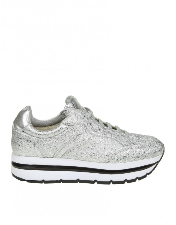 "VOILE BLANCHE SNEAKERS ""MARGOT"" IN PELLE LAMINATA COLORE ARGENTO"