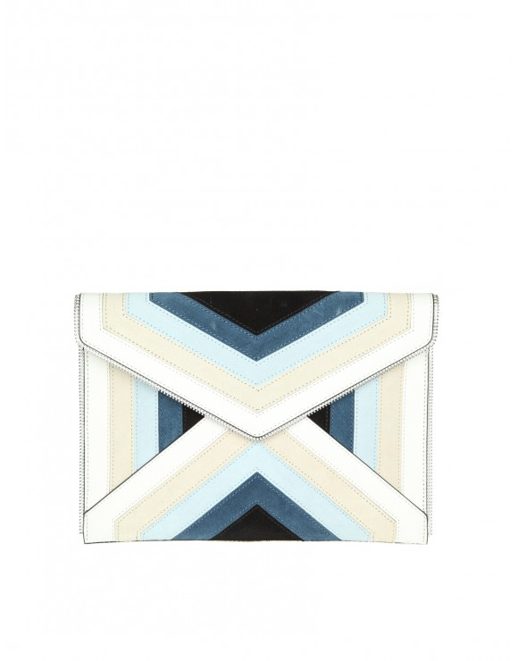 "REBECCA MINKOFF CLUTCH ""LEO"" IN PELLE MULTICOLOR"