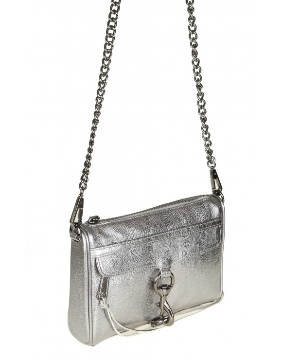 "REBECCA MINKOFF ""MINI MAC CROSSBODY"" IN PELLE LAMINATA COLORE ANTRACITE"