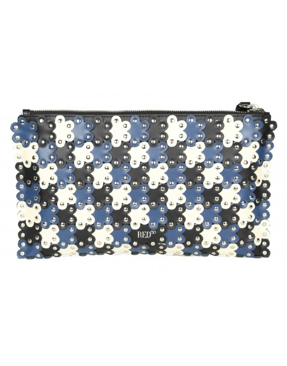 "RED VALENTINO CLUTCH ""FLOWER POWER"" IN PELLE BLU E AVORIO"