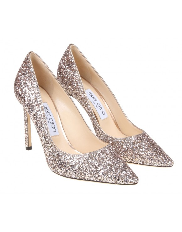 JIMMY CHOO DECOLLETE IN PELLE GLITTER COLORE ROSATO