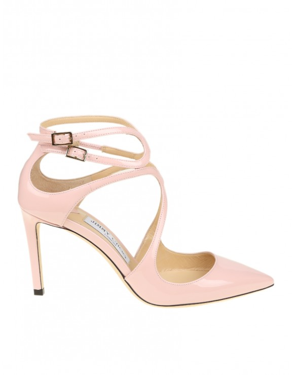 "JIMMY CHOO ""LANCER 85"" DECOLLETE WITH PINK PAINTED STRAPS"