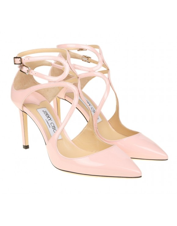 """JIMMY CHOO """"LANCER 85"""" DECOLLETE WITH PINK PAINTED STRAPS"""