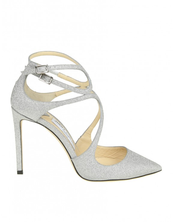 "JIMMY CHOO DECOLLETE ""LANCER 100"" IN PELLE GLITTERATA ARGENTO"