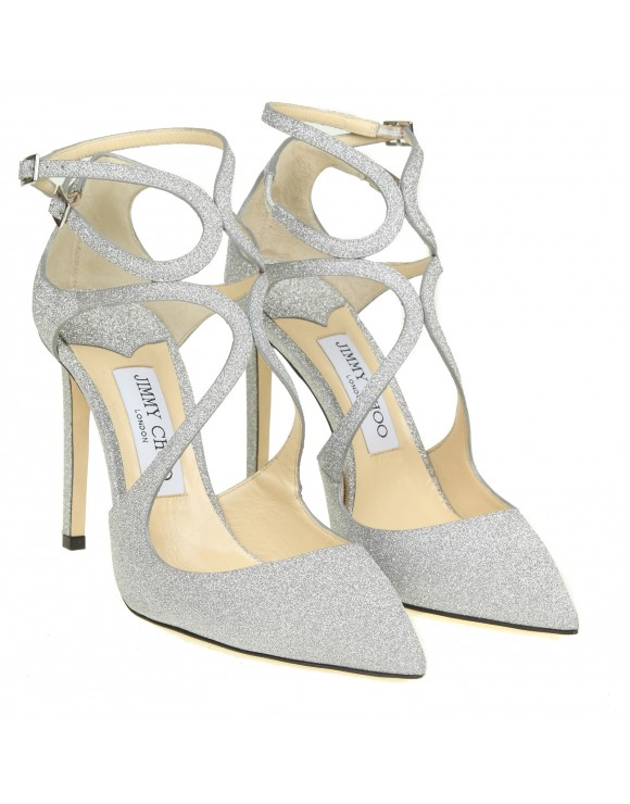 """JIMMY CHOO DECENT """"LANCER 100"""" IN SILVER GLITTERY LEATHER"""