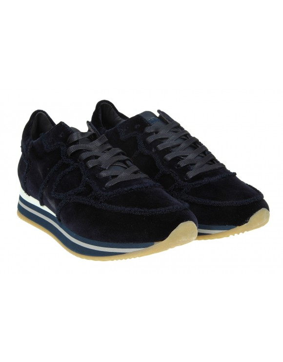 "PHILIPPE MODEL SNEAKERS ""TROPEZ HIGHER"" IN VELLUTO COLORE BLU"