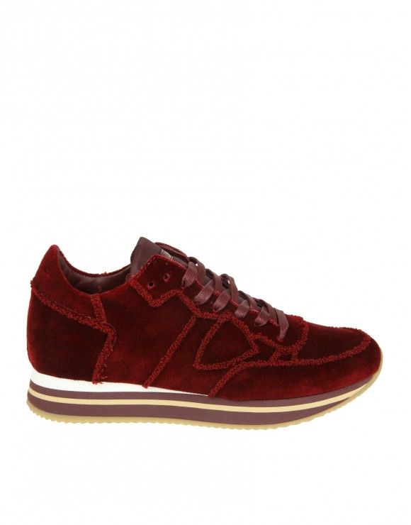 "PHILIPPE MODEL SNEAKERS ""TROPEZ HIGHER"" IN VELLUTO COLORE BORDEAUX"