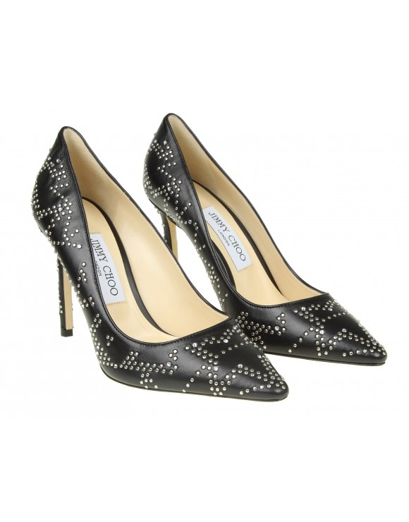 """JIMMY CHOO """"ROMY 100"""" DECOLLETE IN BLACK LEATHER WITH STUDS"""