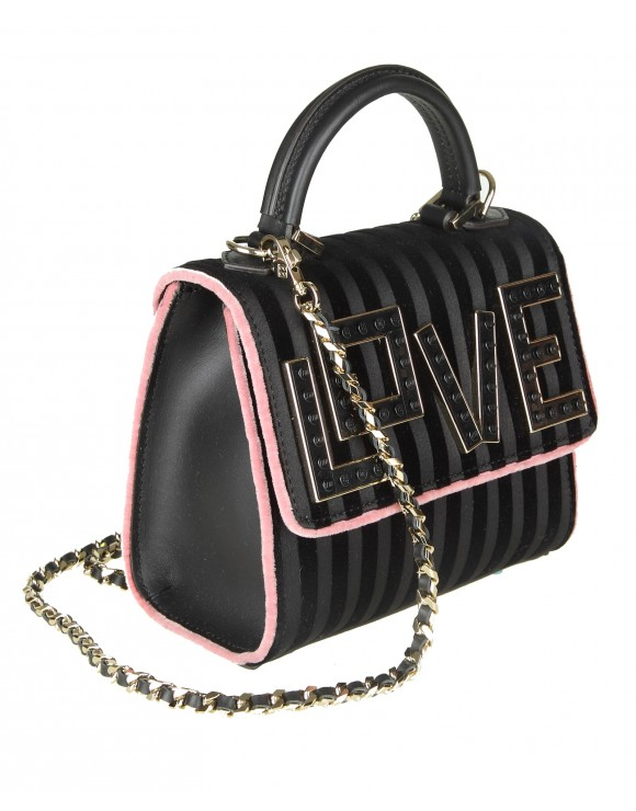 "LES PETITES JOUEURS BORSA A MANO ""BABY ALEX"" IN VELLUTO COLORE NERO"