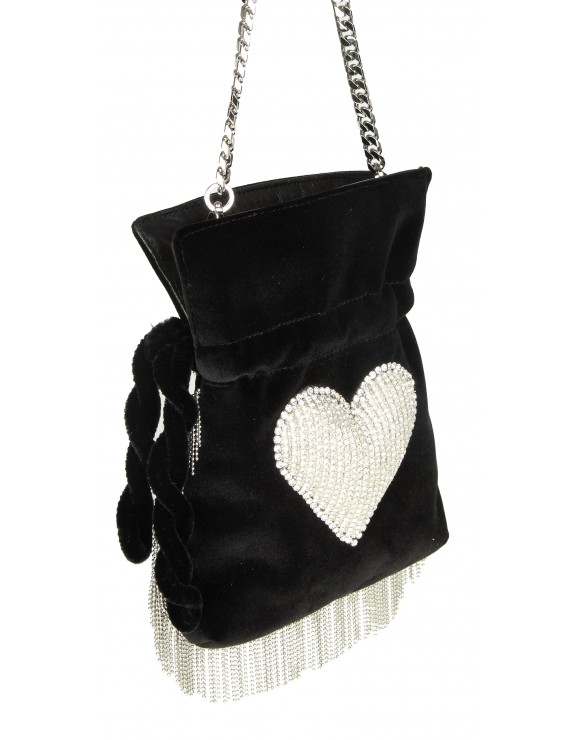 "LES PETITES JOUEUR TRACOLLA ""NANO TRILLY DISCO HEART"" IN VELLUTO NERO"