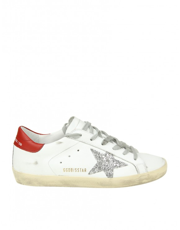 "GOLDEN GOOSE SNEAKERS ""SUPERSTAR"" IN PELLE BIANCA CON STELLA GLITTERATA"