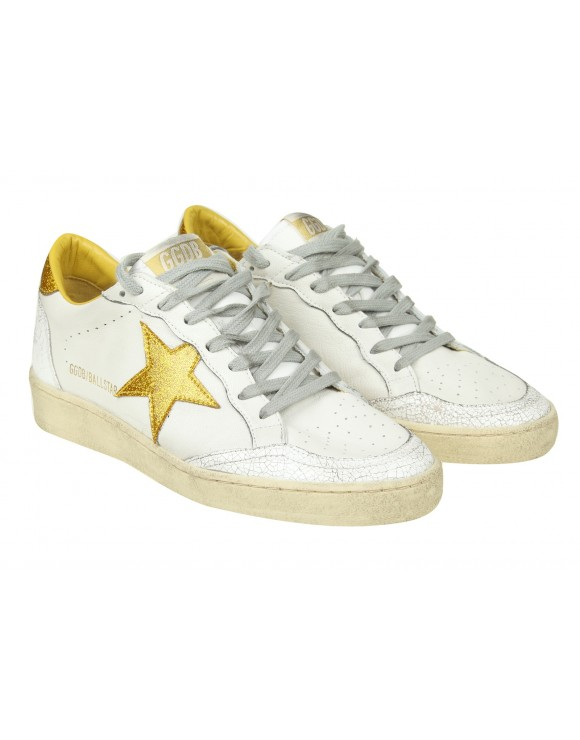 "GOLDEN GOOSE SNEAKERS ""BALL STAR"" IN PELLE BIANCA CON DETTAGLI IN GLITTER"