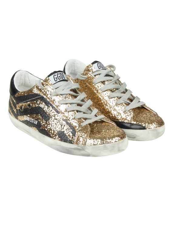"GOLDEN GOOSE SNEAKERS ""SUPERSTAR"" IN PELLE GLITTERATA COLORE ORO"