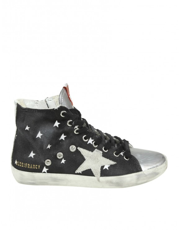 "GOLDEN GOOSE SNEAKERS ""FRANCY"" IN TESSUTO EFFETTO JEANS COLORE NERO"