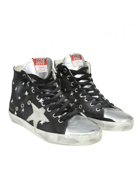 """GOLDEN GOOSE SNEAKERS """"FRANCY"""" IN TESSUTO EFFETTO JEANS COLORE NERO"""