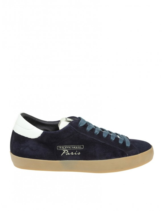 PHILIPPE MODEL SNEAKERS PARIS VINTAGE IN CAMOSCIO BLU