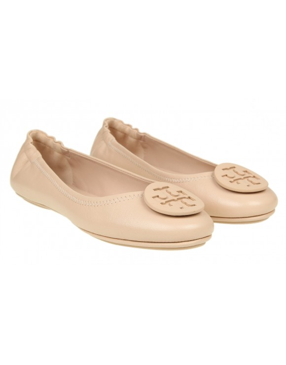 TORY BURCH BALLERINA MINNIE TRAVEL IN PELLE COLORE CIPRIA