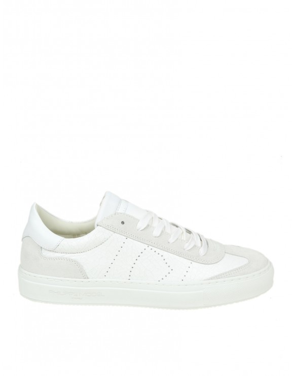 "PHILIPPE MODEL SNEAKERS ""BELLEVILLE"" IN PELLE COLORE BIANCO"