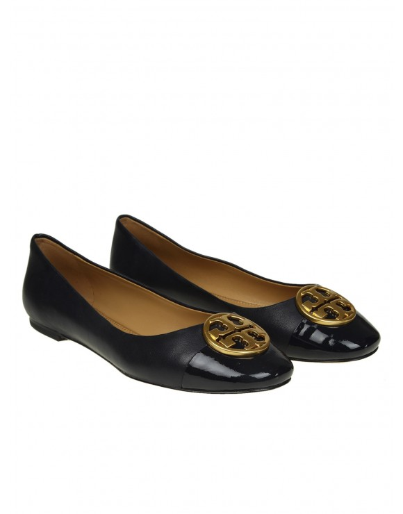 "TORY BURCH BALLERINA ""CHEALSEA"" IN PELLE COLORE BLU"