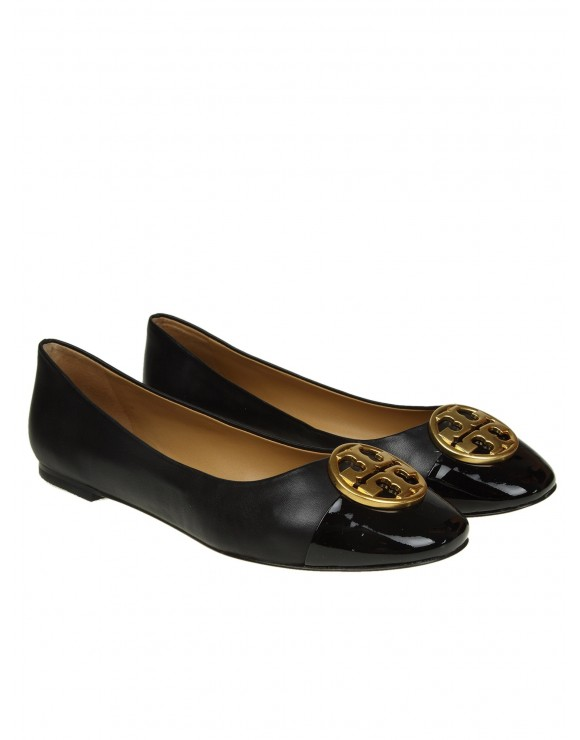 "TORY BURCH BALLERINA ""CHEALSEA"" IN PELLE COLORE NERO"