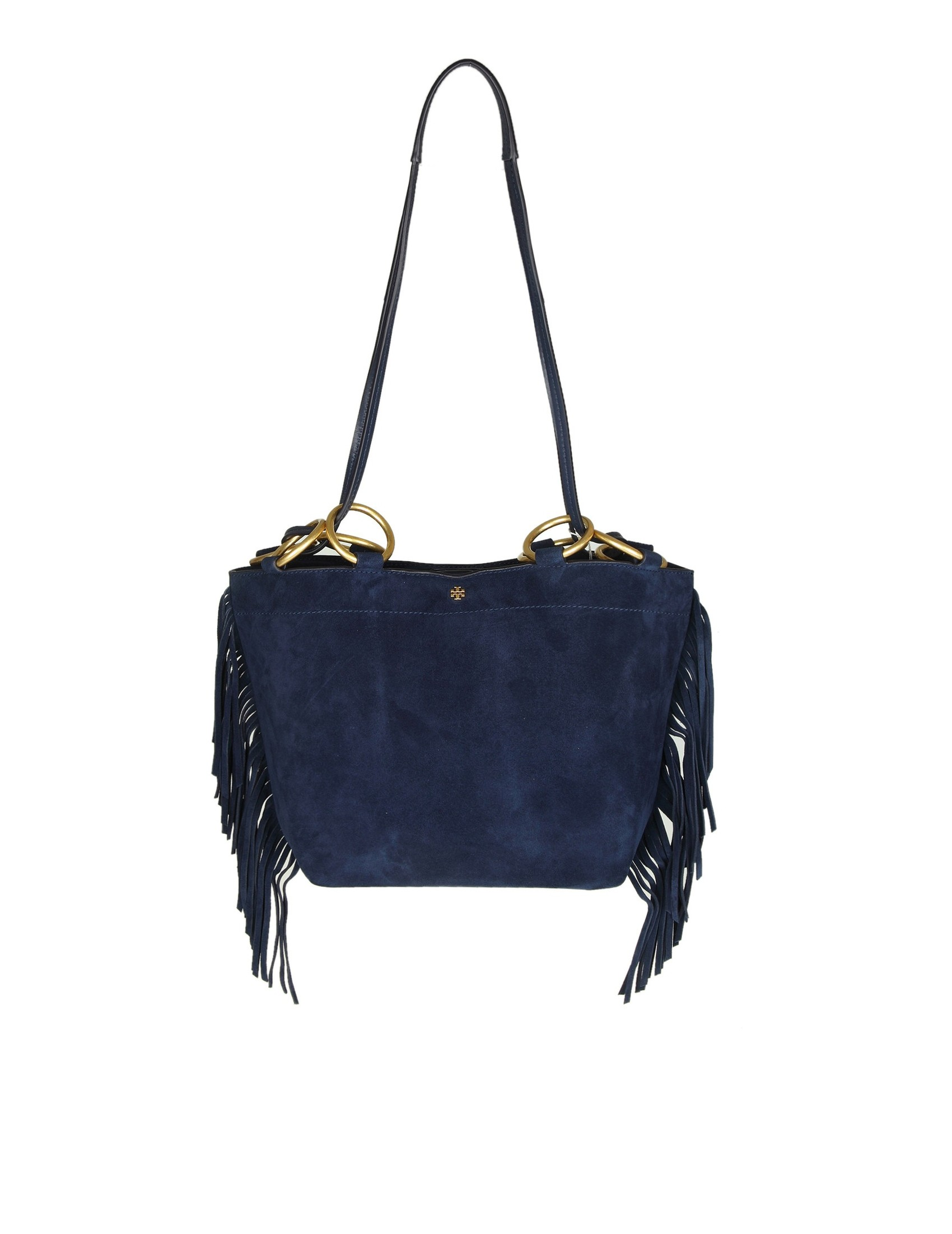 Tory Burch Farrah Fringe Small Tote Shoulder Bag In Suede