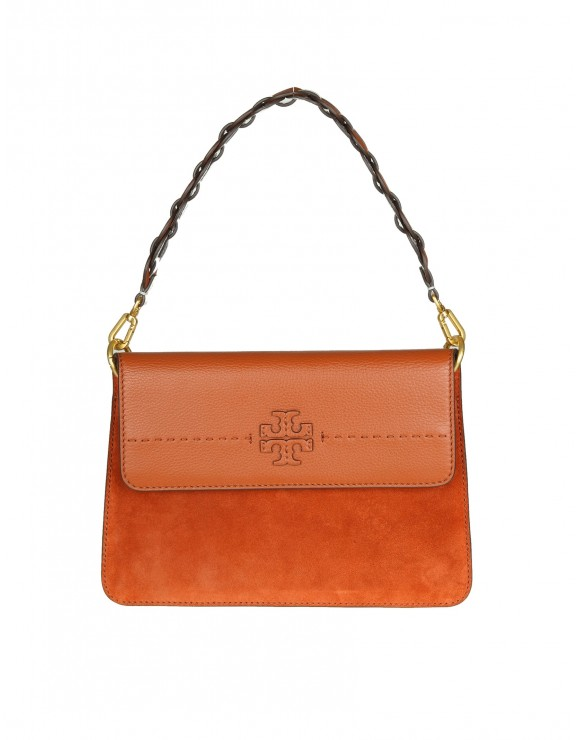 "TORY BURCH BORSA A SPALLA ""MCGRAW MIXED-MATERIALS"" IN PELLE E CAMOSCIO"