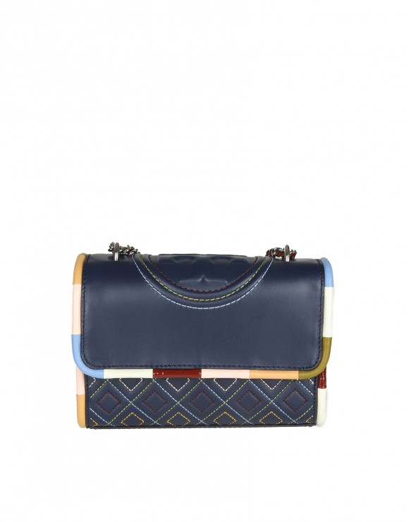 "TORY BURCH ""FLAMING PIPING SMALL"" IN PELLE BLU"