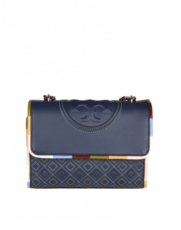 "TORY BURCH ""FLAMING PIPING"" IN PELLE BLU"