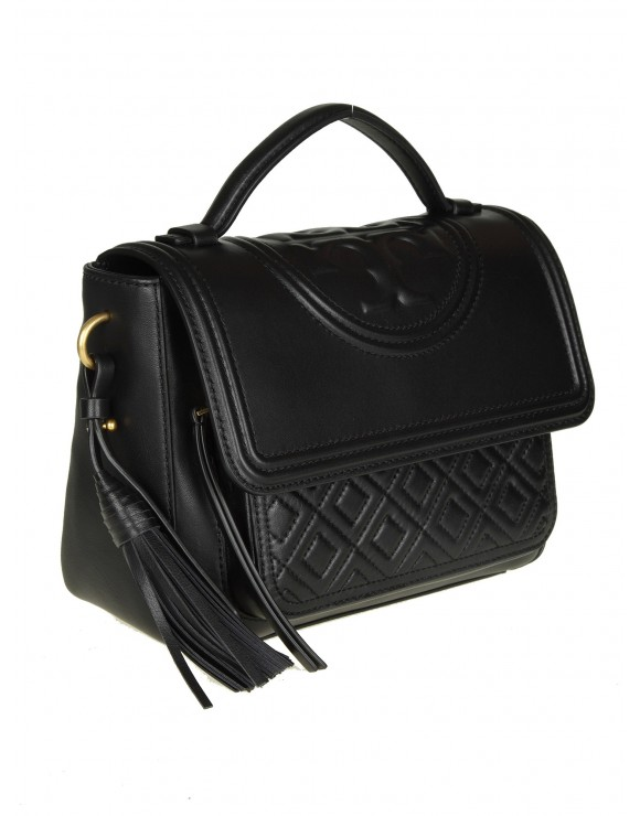 "TORY BURCH ""FLEMING SATCHEL"" IN PELLE COLORE NERO"