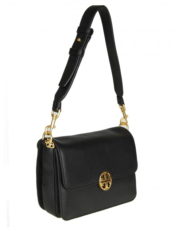 "TORY BURCH TRACOLLA ""CHELSEA SHOULDER BAG"" IN PELLE NERA"