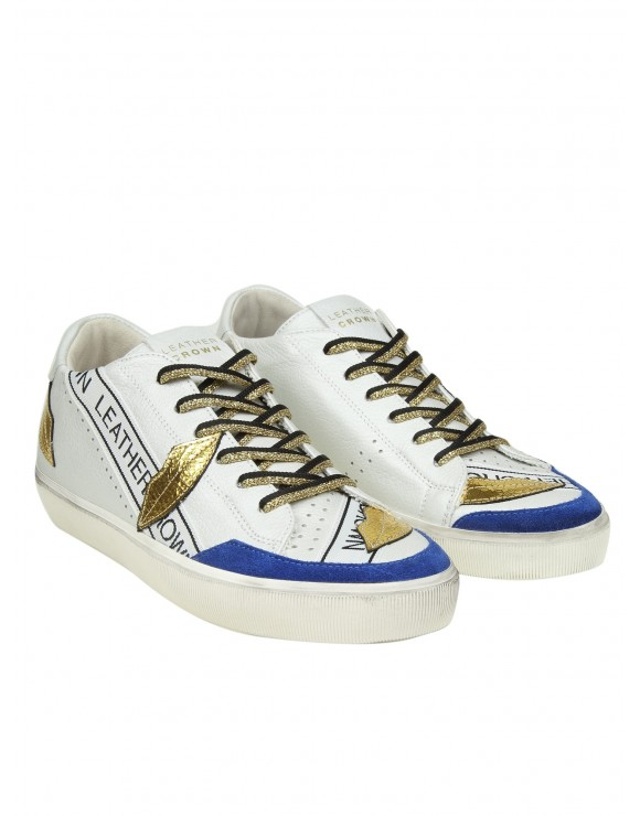 "LEATHER CROWN SNEAKERS ""W KISSLOW"" IN PELLE COLORE BIANCO"