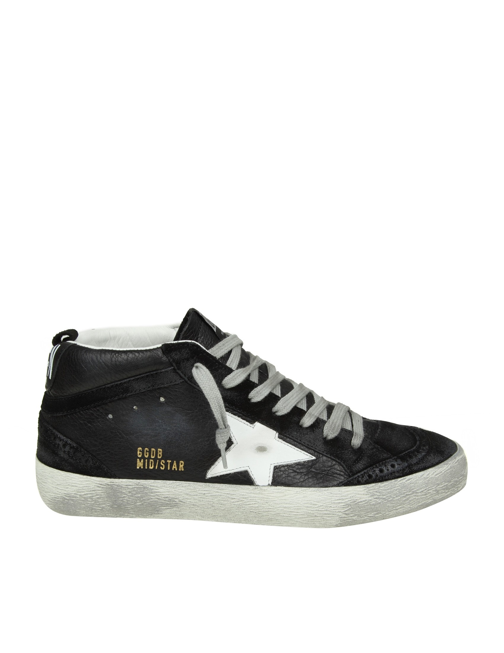 41642232fa2a GOLDEN GOOSE SNEAKERS MID STAR LEATHER BLACK WHITE STAR MAN